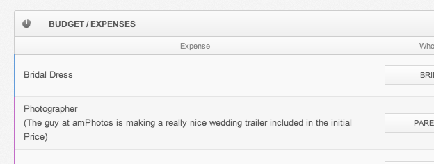 adding details to wedding expenses entries in wedjinni